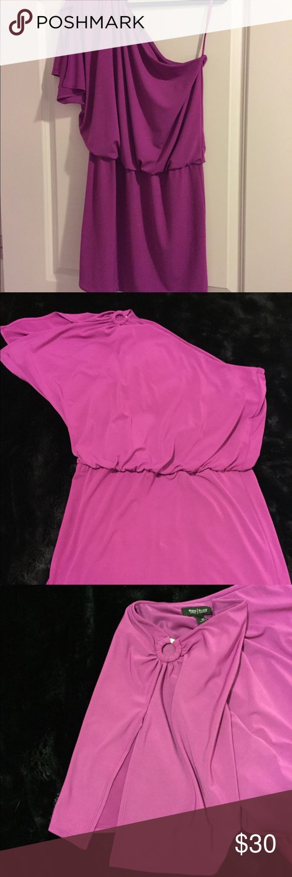 White House Black Market one shoulder dress 12 Never worn just tried on several times.  One shoulder magenta dress size 12 from White House Black Market. Side with shoulder has split sleeve with silver hoop hardware. White House Black Market Dresses One Shoulder
