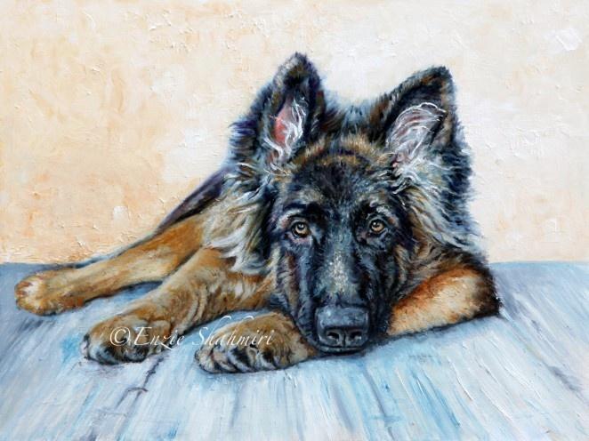 German Shepherd by Enzie Shahmiri Oil PaintingGermanshepherd, Pets Portraits, Canvas Prints,  German Shepherd Dogs, Art, Enzi Shahmiri, German Shepherds, Oil Painting, Animal