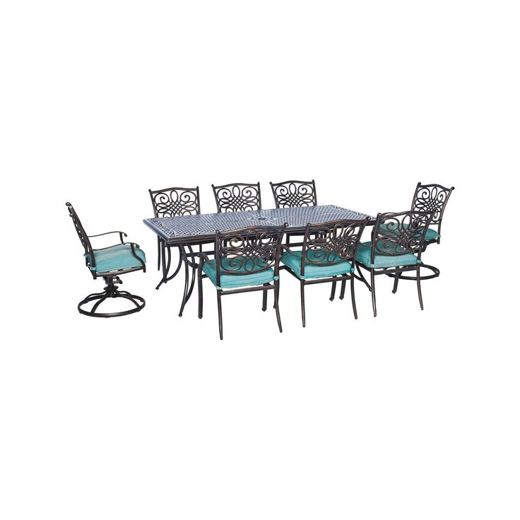 Seasons 9pc Dining Set With Six Dining Chairs, Two Swivel Rockers And An Extra Long Dining Table - Blue - Hanover