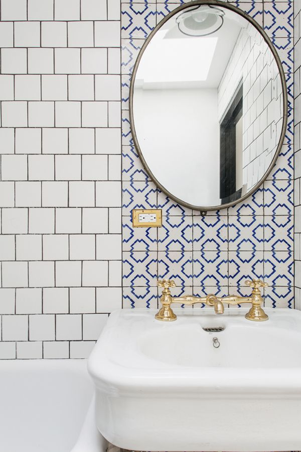 brooklyn house tour mixed tiles and gold fixtures in bath