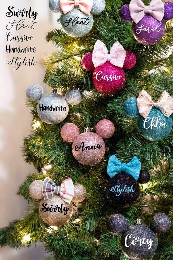 Disney Christmas Disney Christmas Ornament Farmhouse Disney Ornament Mickey Christmas Ornament Christmas Gift Round Disney Ornament