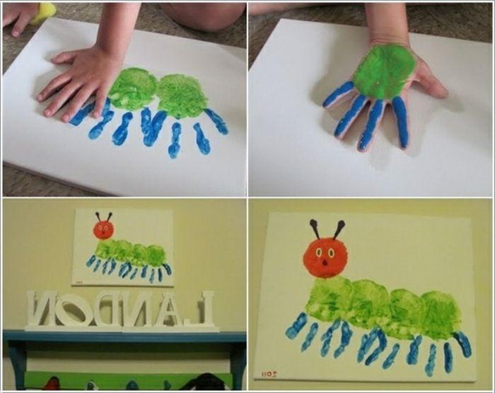 eine grüne raupe handabdruck bilder malen