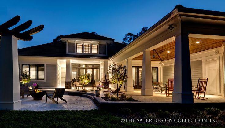 Prairie Pine Court home plan patio and veranda l Sater Design Collection l Luxury Home Plans l Luxury Home Designs