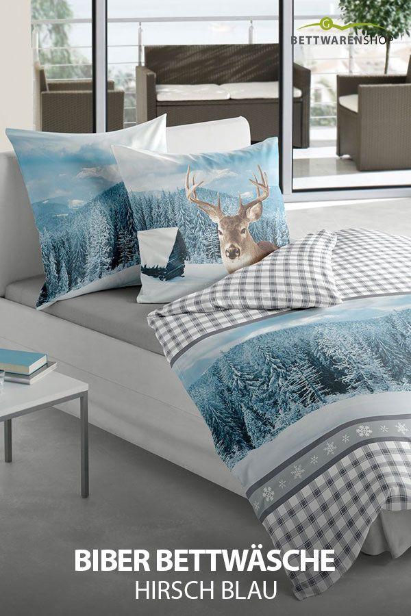 Biber Bettwasche Hirsch Blau Aus Flauschig Weicher Baumwolle