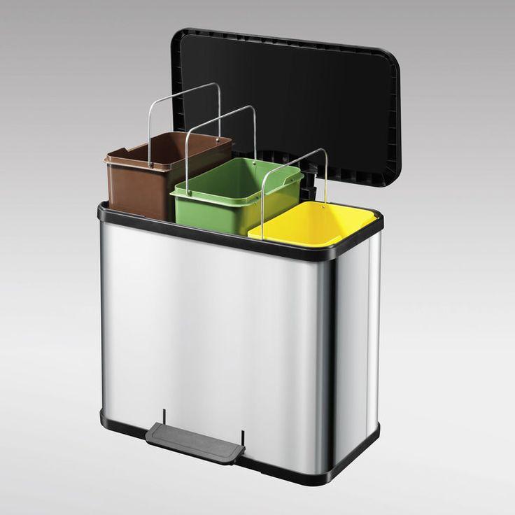 Exceptionnel Poubelle De Tri Selectif Ikea #1: Caractéristiques Techniques Poubelle De Tri Sélectif à Pédale Rectangulaire  En Inox 3X11L Matières : Corps Rectangulaire