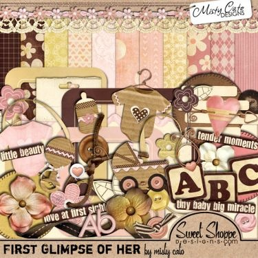 digital kit for baby girl birth announcements