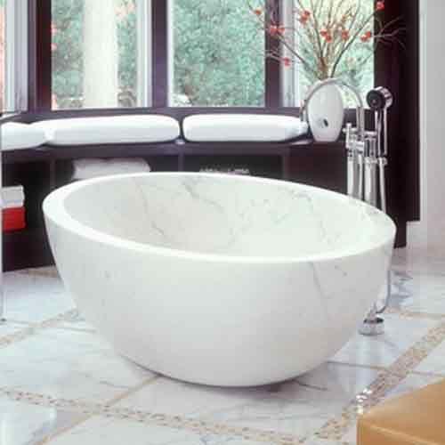 Round Bathtubs Made By Italian White Carrara Marble