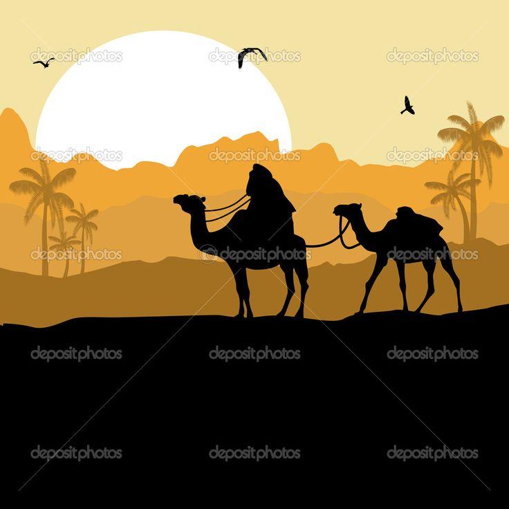 Караван верблюдов в пустыне — Stock Illustration #30197597