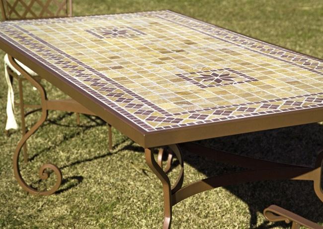 Mesa de mosaico forja artesanal espa ola for Mesa mosaico jardin