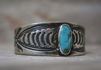 Early Navajo Coin Silver Ingot Native American Repousse Turquoise Cuff Bracelet