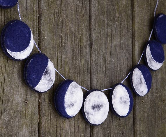 Handmade Felt Garland. The Phases of the Moon. Needlefelted Home Decor by AlyParrott on Etsy. Made to Order.