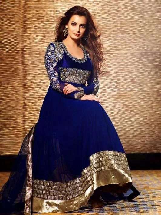 Princess Dia Mirza @deespeak regal in a royal blue and gold #Desi #Anarkali ::