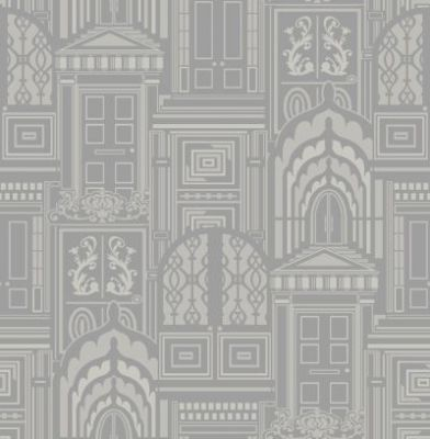 Opening Doors Ash (950803) - Sophie Conran Wallpapers - A beautiful true flock design with ornate doors on a metallic background.  Shown in the pale silver grey colourway. Please request sample for true colour match. Paste the wall.