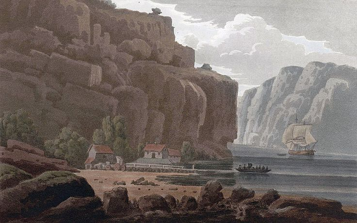 """Svinesund Ferry, Norwegian side (JW Edy plate 79). English: """"Svinesund Ferry, Norwegian side"""" Norsk bokmål: «Svinesunds færge, Norske Siden» Drawing by John William Edy (1760-1820) from his journey along the coast of Norway during the summer of 1800. Published in Boydell's picturesque scenery of Norway in 1820."""