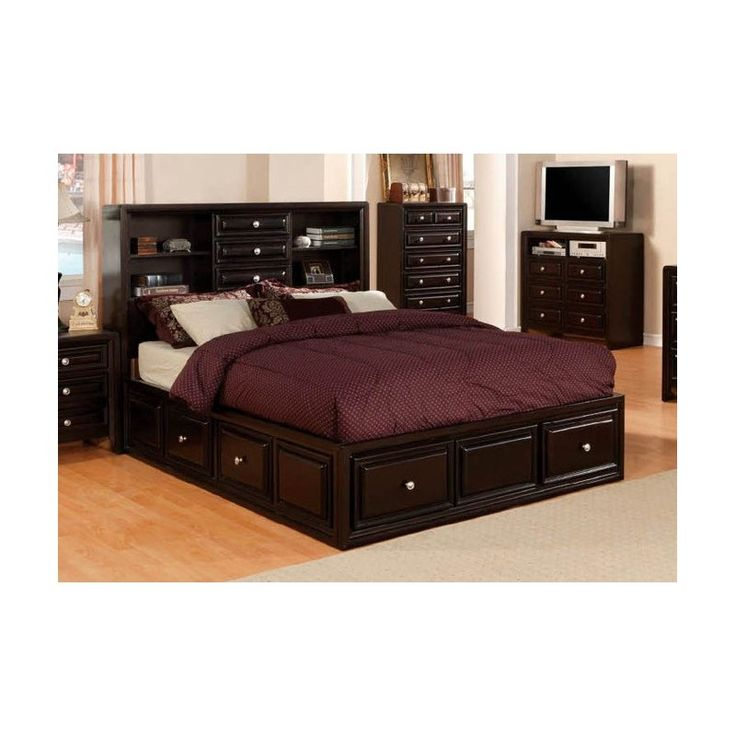 Queen Captains Bed With Bookcase Headboard WoodWorking