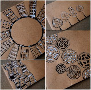 Mail Art Envelopes ~ try tangles on Kraft Paper with black Micron & White Gelly Roll ~ always looks great! via Blue Birdie  Love working on brown craft paper