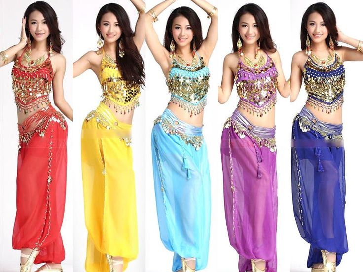 Belly Dance Costume Set 2pc Gold Halter Top Harem Genie Pants Bollywood Danc LJ | eBay