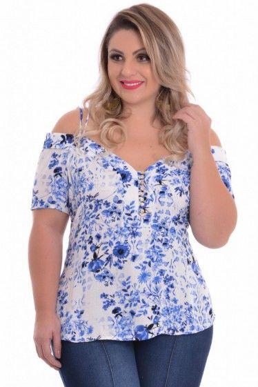Blusa Plus Size Liberty Blue