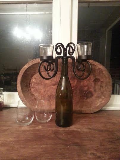Wine Bottle Candle Holder - Wine Bottle Candelabra - Wine Bottle Stopper - Wine Bottle Light - Iron Candle holder - Bottle Candelabra by MyHailiesHaven on Etsy