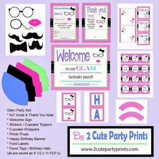 Glam Quinceanera Party Free Printable Kit.