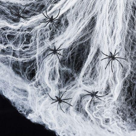 60g white spider web 6 spiders - Spider Web Decoration For Halloween