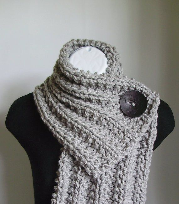Button Cowl - Light Grey with a Black Button