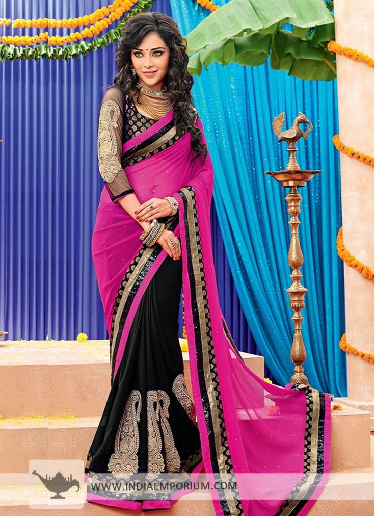 Black & Magenta Georgette #Saree