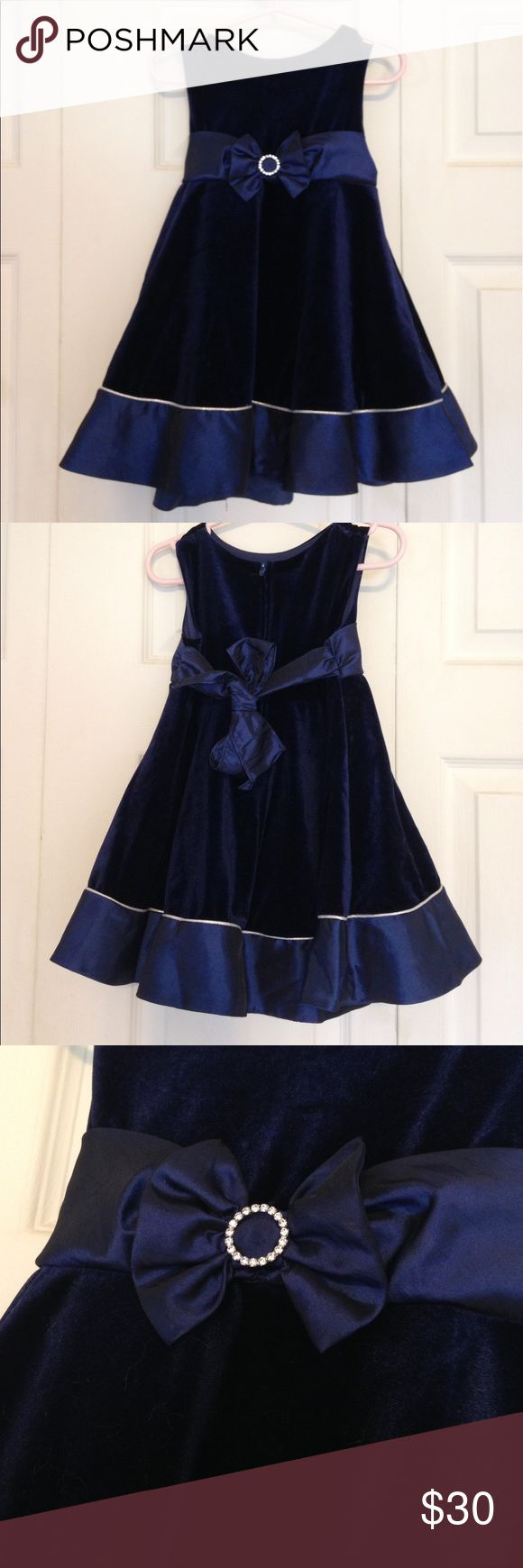 Rare Editions Blue Velvet Party Dress + Shoes Beautiful deep blue navy velvet and taffeta formal dress with silver crystal accent and bow tie back. Includes diaper cover and BONUS Cherokee formal shoes (toddler size 7). Dress and shoes worn once, inside only. Rare Editions Dresses Formal