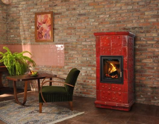 Kominek wolnostojący z zastosowaniem kafli Kulki z manufaktury Riwal. Kominki kaflowe. Piece kaflowe. Tiled fireplaces.