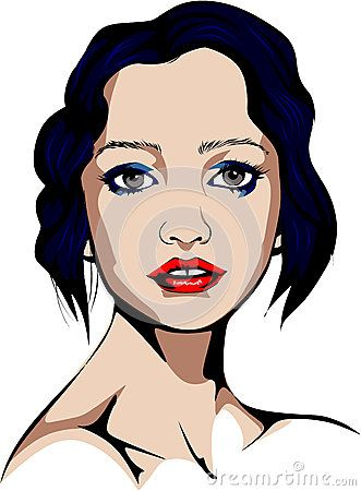 Colored Pop Art style vector illustration of an attractive blue-eyed woman.