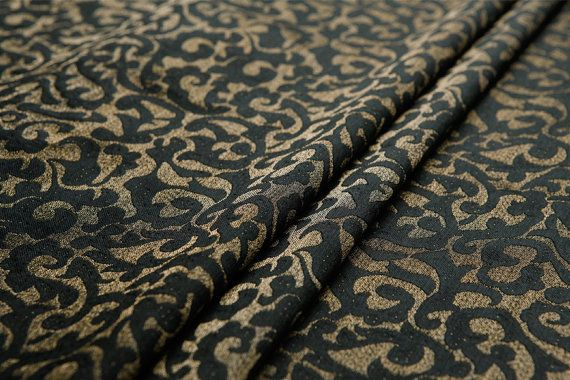 Mulberry silk and cotton blend satin fabric—sculptural yarn dyed silk fabric, gold, blackfor top, dress, coat, craft by the yard