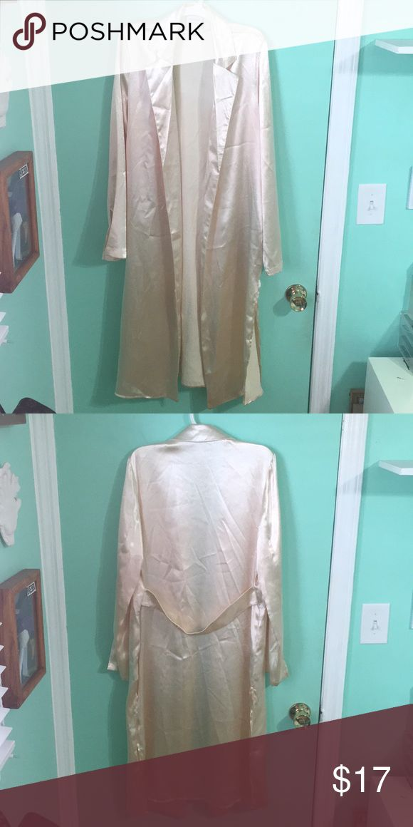 silk duster coat extremely adorable and trendy business-like silk gold colored duster coat. worn once- great condition. has pockets and pleated collar. Forever 21 Jackets & Coats