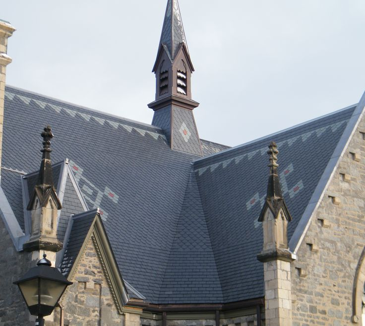 patterned slate roof on church