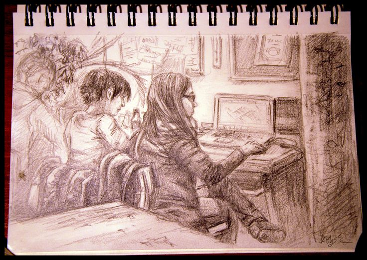 Studying in the University, Wednesday pencil sketch by Kölyök