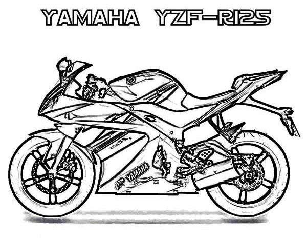 yamaha yzf r125 motorcycle coloring page