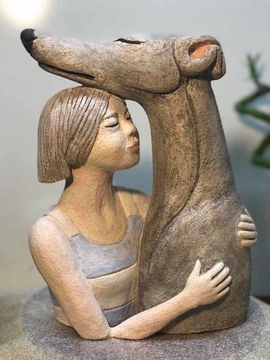 Best sighthound art my ceramics sculptures linocuts