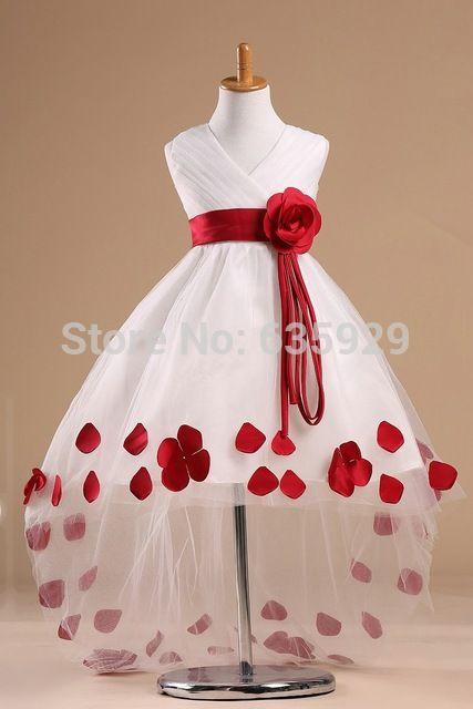 Lindo de la foto Real 2014 rojo hechos a mano pétalos de flores alto bajo dobladillo niña de las flores vestido del desfile de los niños para niñas