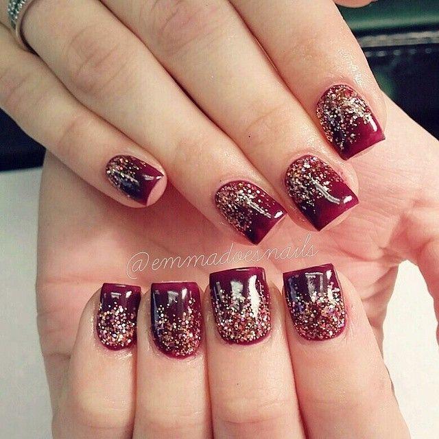 @emmadoesnails fall nails winter nails holiday nails christmas nails glitter nails maroon nails burgandy nails