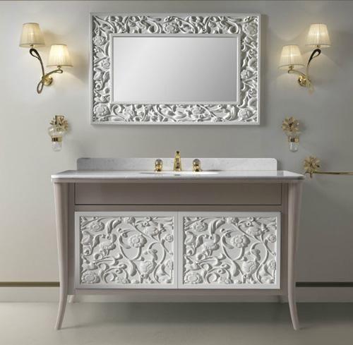 Alçı Süslemeli Ahşap Lavabo Banyo Dolabı Modelleri
