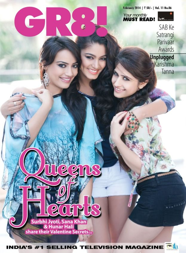 GR8! TV - February 2014 : 'Love, Romance, Sex, One-Night Stands, Infidelity'- Television's three most desired single actresses come together to talk about all this and more, in GR8! Magazine's exclusive Valentine Cover Story. Ace fashion photographer Pravin Talan captures the heart, soul and beauty of these stars- Surbhi Jyoti, Hunar Ali and Sana Khan in mesmerizing pictures that would delight their fans. GR8! Also brings ...   More