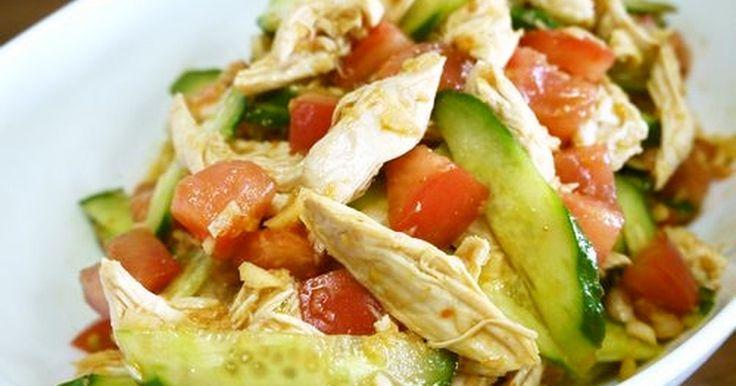 ソースは電子レンジで加熱することで香りが引き立ち食材にも馴染みます☆鶏ささみ&野菜でヘルシーなサラダに仕上がりました♪