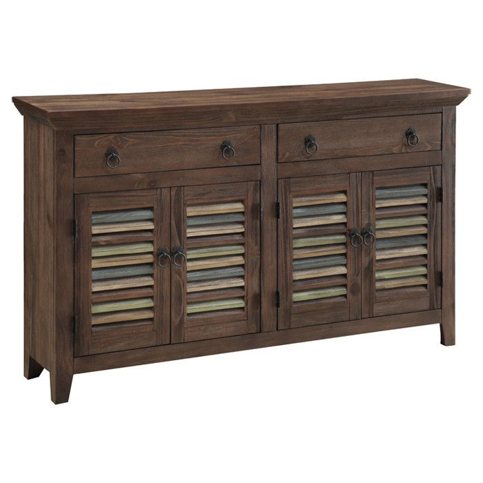 $787.95-$160.00-shipping TOTAL $947.95 COAST TO COAST CABINET / WOOD / BROWN & MULTI / LOUVERED PANELS / 2-DRAWERS / 4-LOUVERED DOORS / MEAS. 59.25''W X 12.5''D X 34.75''H    Nash - Free-Spirited Foyer on Joss & Main