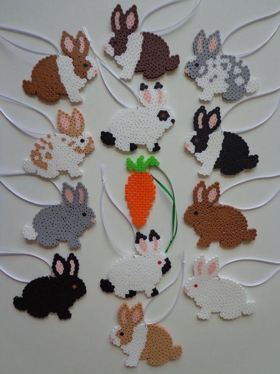 Hase Kaninchen Perler Bead Dekoration Ornaments / Tag Geschenk