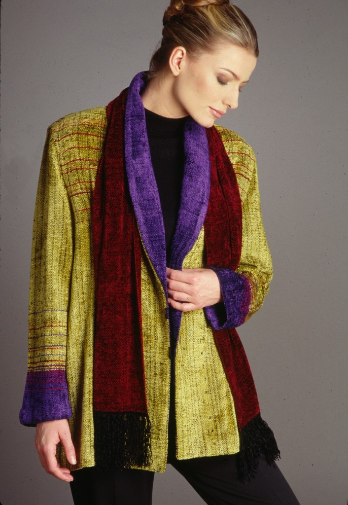 Handwoven chenille jacket by Camille Benjamin.
