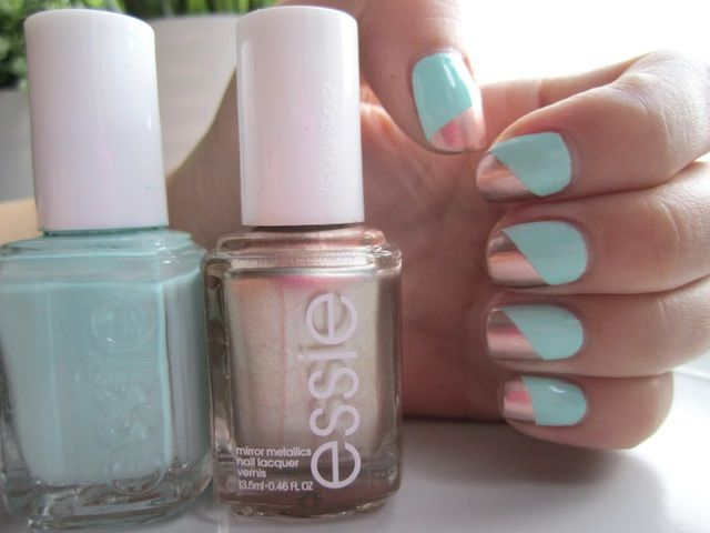 Essie Mint & Metallic Nails