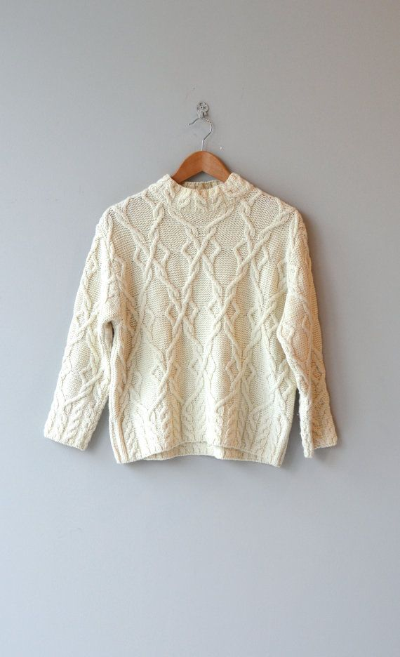 Ronin wool sweater cable knit sweater cream wool by DearGolden