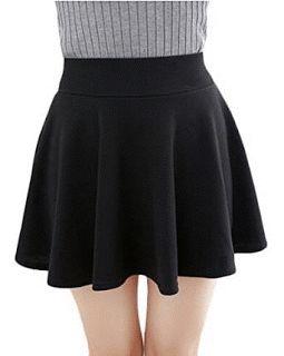 Women's Basic Solid Versatile Stretchy Flared Casual Mini Skater Skirt