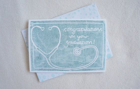 Stethoscope congratulations on your graduation medical nursing school block print hand printed greeting card in green ink. Free UK shipping.