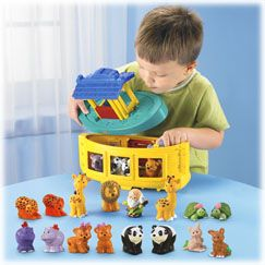 Includes 20 chunky animal figures to mix, match and count!Noah, using all he knew, built himself a floating zoo with all kinds of animals—each times two! Two-piece ark has detachable top deck with covered, open-air cabin plus plenty of space below d
