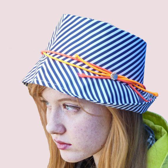 Marine Club Rain Fedora Hat in Navy Stripe with by ArishaHattersFolk Fashion, 2Dayslook Stripes, Fedoras Hats, Hats Fedoras, Club Rain, Shirts, Marines Club, Club Tops, Tops Hats